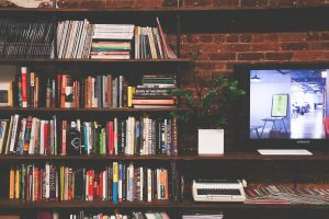 library, books, tv